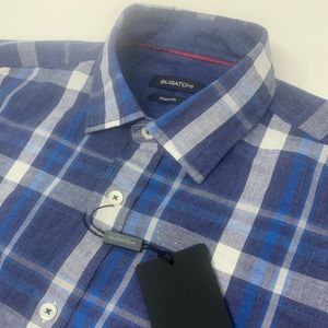 Bugatchi Long Sleeve Button Front Plaid Shirt